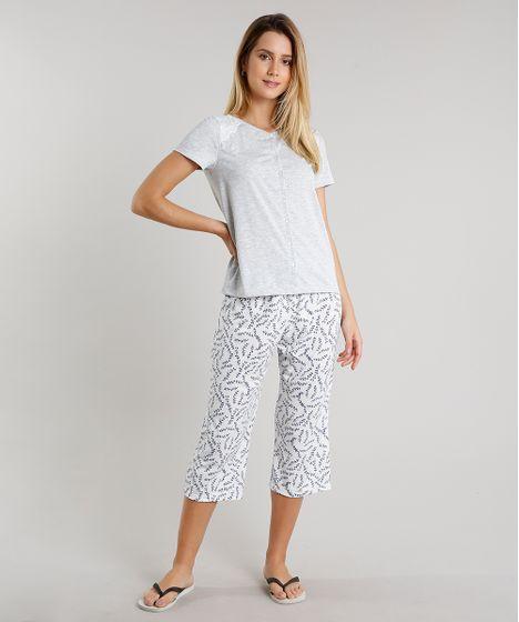 1a25163d68b4f3 Pijama Feminino Estampado Floral com Bolso e Botões Manga Curta Cinza  Mescla Claro