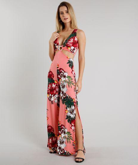 Macacao-Feminino-Estampado-Floral-com-Vazado-e-Fenda-Sem-Manga-Coral-9609699-Coral_1