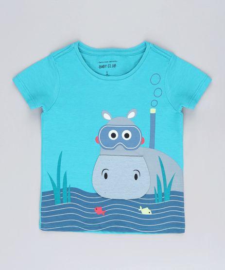 Camiseta-Infantil-com-Estampa-Interativa-de-Hipopotamo-Manga-Curta-Verde-Agua-9618712-Verde_Agua_1