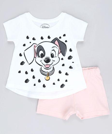 Conjunto-Infantil-Dalmatas-de-Blusa-Manga-Curta-Branca---Short-em-Moletom-Rosa-Claro-9632710-Rosa_Claro_1