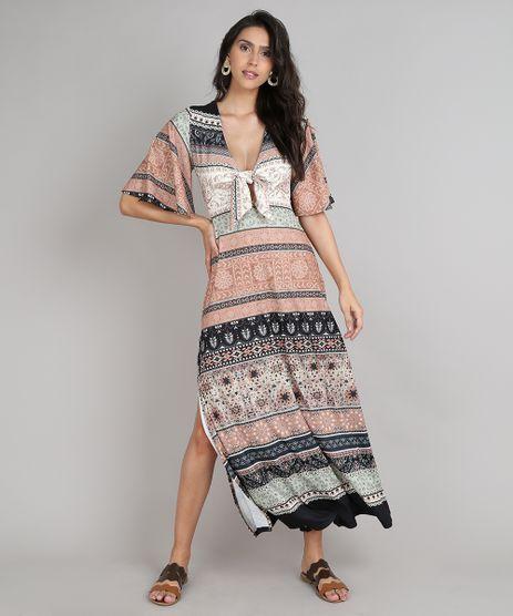 Vestido-Feminino-Longo-Estampado-de-Arabescos-com-No-e-Fendas-Manga-Curta-Caramelo-9627379-Caramelo_1
