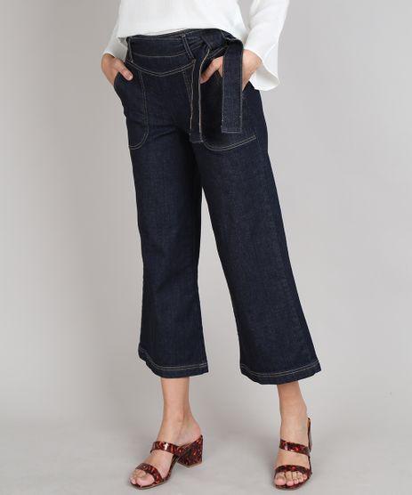 Calca-Jeans-Feminina-Pantacourt-com-Faixa-para-Amarrar-Azul-Escuro-9666392-Azul_Escuro_1
