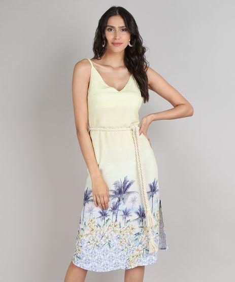Vestido-Feminino-Midi-Estampado-Tropical-com-Fenda-e-Cordao-Alcas-Finas-Amarelo-9548732-Amarelo_1
