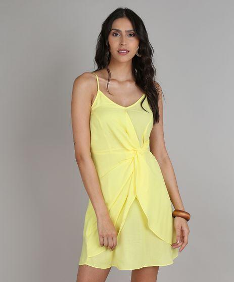 Vestido-Feminino-Curto-com-Transpasse-e-Fenda-Alcas-finas-Amarelo-9548728-Amarelo_1