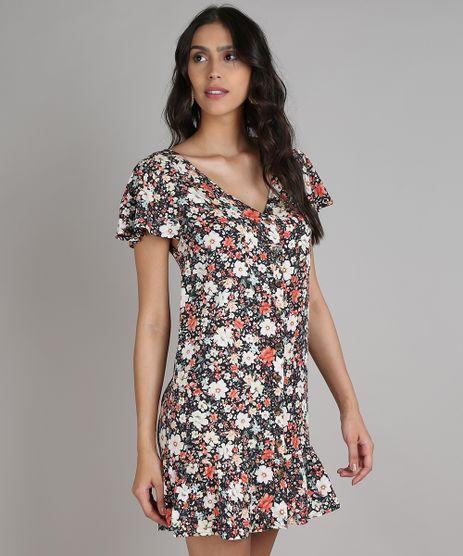 Vestido-Feminino-Curto-Estampado-Floral-com-Babado-e-Botoes-Manga-Curta-Preto-9646861-Preto_1