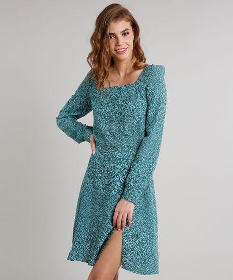 Vestido-Feminino-Mindset-Curto-Estampado-com-Fenda-Manga-Longa-Verde-9707561-Verde_1