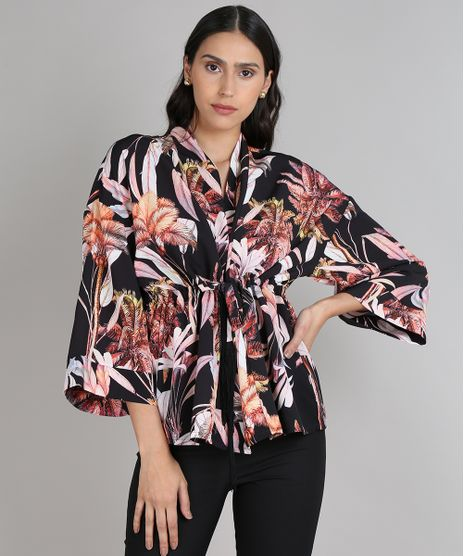 Kimono-Feminino-Amplo-Estampado-Floral-com-Amarracao-Preto-9559255-Preto_1