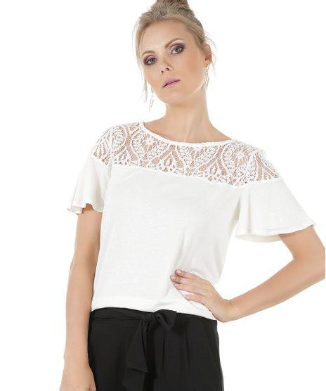58ea1dc5c3 Blusa-com-Renda-Off-White-8537175-Off White 1