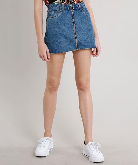 Saia-Jeans-Feminina-Curta-com-Ziper-de-Argola-Azul-Escuro-9546923-Azul_Escuro_1