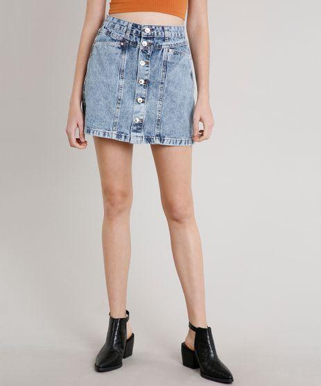 Saia-Jeans-Feminina-Curta-com-Botoes-e-Recorte-Azul-Claro-9662955-Azul_Claro_1