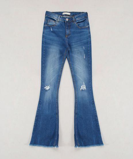 Calca-Jeans-Infantil-Flare-com-Barra-Desfiada-e-Puidos-Azul-Escuro-9638824-Azul_Escuro_1