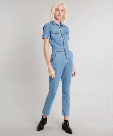 Macacao-Jeans-Feminino-com-Bolsos-Manga-Curta-Azul-Claro-9664648-Azul_Claro_1