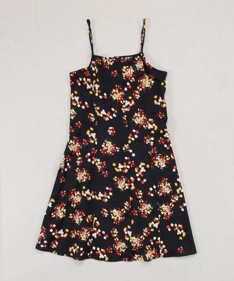 Vestido-Infantil-Estampado-Floral-com-Botoes-Alca-Fina-Preto-9670154-Preto_1