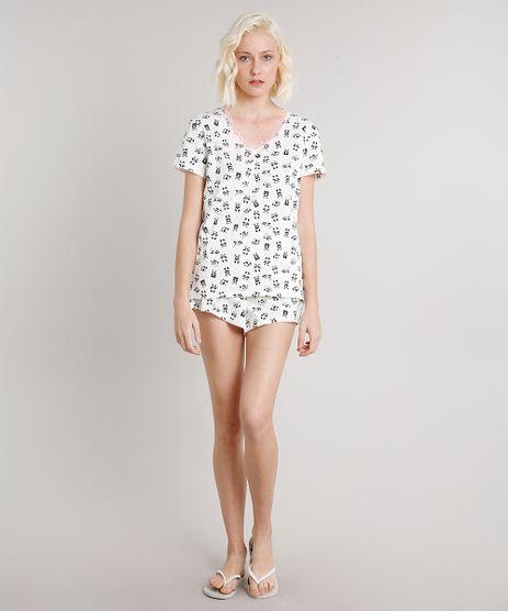Pijama-Feminino-Estampado-de-Panda-com-Renda-Manga-Curta-Off-White-9638669-Off_White_1