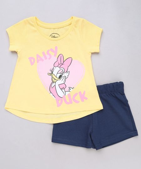 a27b4ebd72 Conjunto Infantil Margarida de Blusa Manga Curta Amarela + Short em Moletom  Amarelo - cea