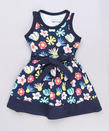 Vestido-Infantil-Estampado-Floral-com-Laco-Sem-Manga-Azul-Marinho-9653834-Azul_Marinho_1