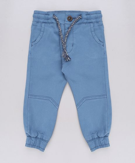 Calca-de-Sarja-Infantil-Jogger-com-Bolsos-Azul-9612848-Azul_1