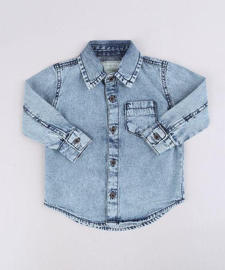 Camisa-Jeans-Infantil-com-Bolsos-Manga-Curta-Azul-Medio-9660709-Azul_Medio_1
