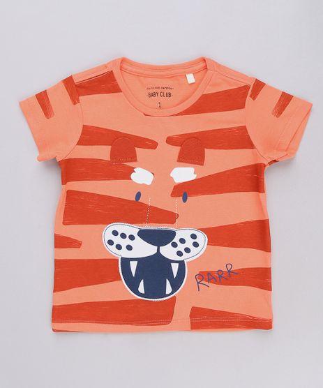 Camiseta-Infantil-com-Estampa-Interativa-de-Tigre-Manga-Curta-Laranja-9667897-Laranja_1