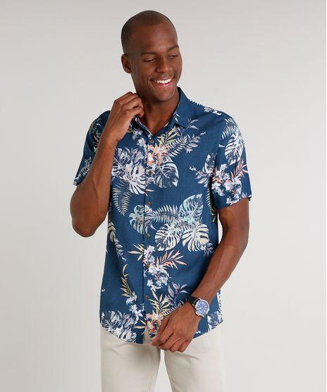 Camisa-Masculina-Estampada-de-Folhagem-Manga-Curta--Azul-9583300-Azul_1