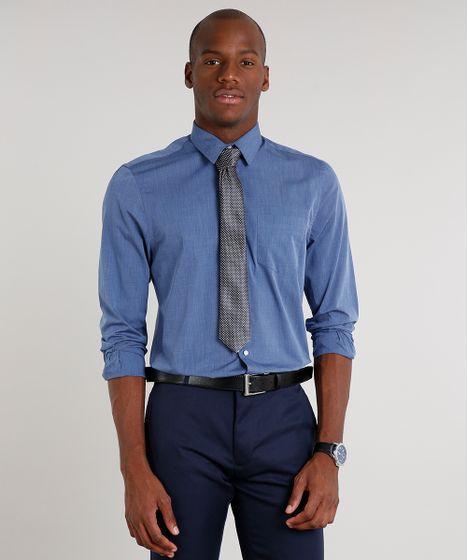 moda más deseable precio atractivo discapacidades estructurales Kit de Camisa Masculina Comfort Manga Longa Azul + Gravata Texturizada  Chumbo