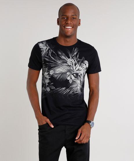 Camiseta-Masculina-Slim-Fit-com-Estampa-Floral-Manga-Curta-Gola-Careca-Preta-9593778-Preto_1