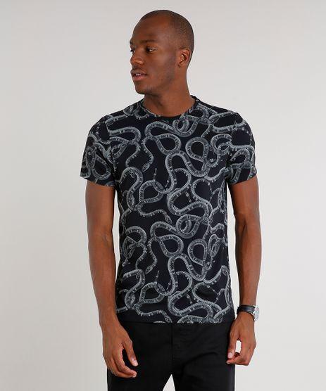Camiseta-Masculina-Slim-Fit-Estampada-de-Cobra-Manga-Curta-Gola-Careca-Preta-9592920-Preto_1