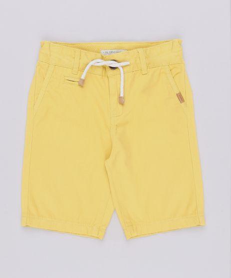 Bermuda-de-Sarja-Infantil-com-Cordao-e-Bolsos-Amarela-9559579-Amarelo_1