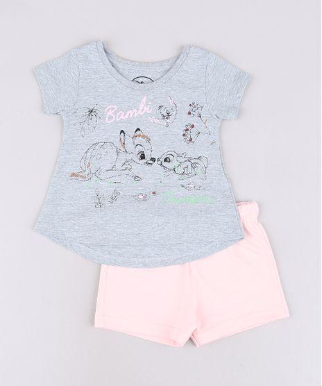 Conjunto-Infantil-Bambi-de-Blusa-Manga-Curta-Cinza-Mescla---Short-em-Moletom-Rosa-Claro-9632711-Rosa_Claro_1
