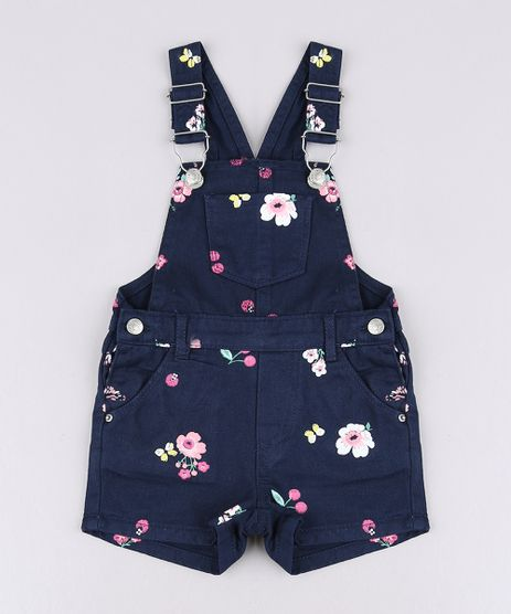 b034dd5833 Jardineira-de-Sarja-Infantil-Estampada-Floral-com-Cereja-