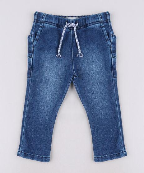 Calca-Jeans-Infantil-em-Moletom-com-Bolsos-Azul-Escuro-9635839-Azul_Escuro_1