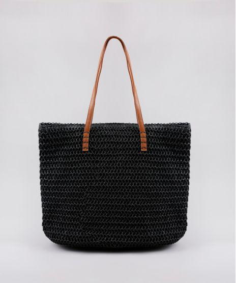 Bolsa-Feminina-Shopper-em-Palha-Preta-9602422-Preto_1