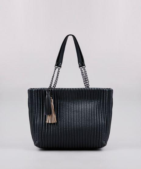 Bolsa-Feminina-Shoulder-Texturizada-com-Correntes-e-Tassel-Preta-9505295-Preto_1