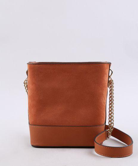 Bolsa-Feminina-Pequena-em-Suede-com-Correntes--Caramelo-9483378-Caramelo_1