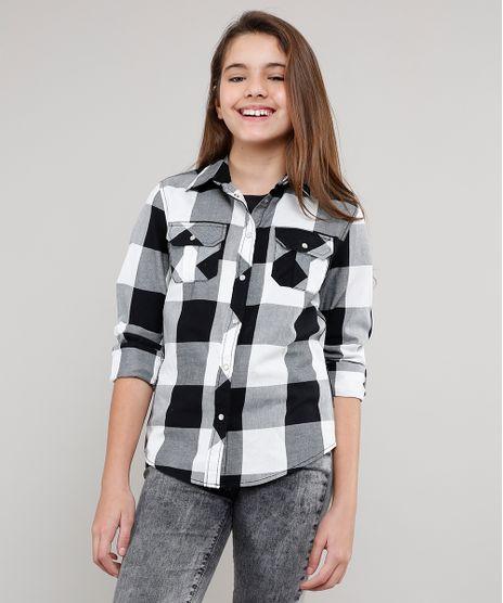 Camisa-Infantil-Estampada-Xadrez-Manga-Longa-Preta-9402505-Preto_1