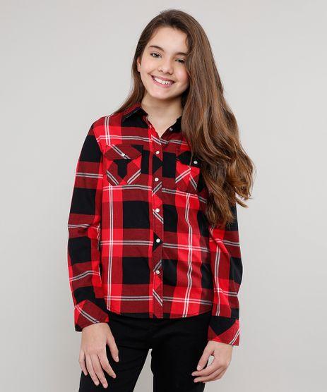 Camisa-Infantil-Estampada-Xadrez-com-Bolsos-Manga-Longa-Vermelha-9402504-Vermelho_1