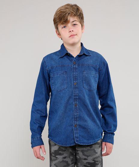 Camisa-Jeans-Infantil-com-Bolsos-Manga-Longa-Azul-Medio-9549496-Azul_Medio_1