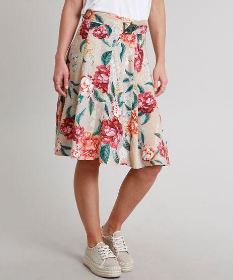 Saia-Feminina-Estampada-Floral-com-Cinto-Bege-9537104-Bege_1