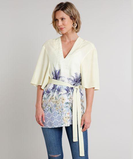 Kimono-Feminino-com-Estampa-Tropical-e-Faixa-para-Amarrar-Manga-Curta-Amarelo-9548734-Amarelo_1