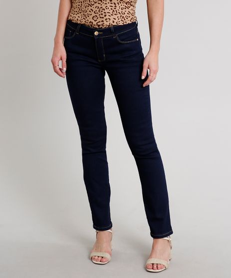 Calca-Jeans-Feminina-Reta-com-Bolsos-Azul-Escuro-9665133-Azul_Escuro_1