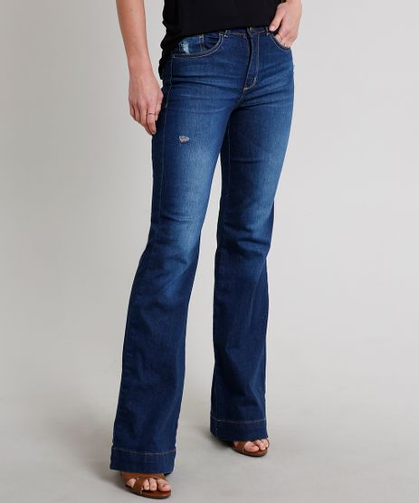 Calca-Jeans-Feminina-Flare-com-Puidos-Azul-Escuro-9666383-Azul_Escuro_1