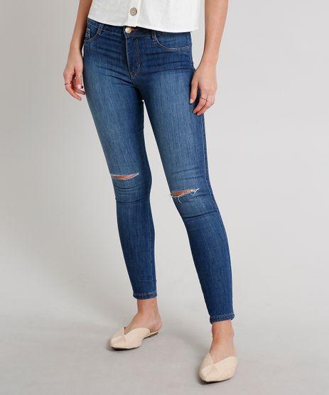 Calca-Jeans-Feminina-Super-Skinny-com-Rasgos-Azul-Escuro-9671818-Azul_Escuro_1