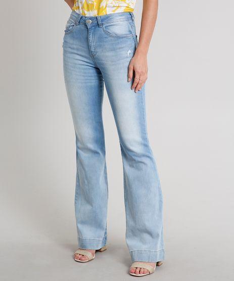Calca-Jeans-Feminina-Flare-com-Puidos-Azul-Claro-9666382-Azul_Claro_1
