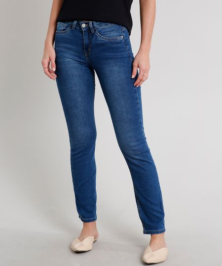 Calça Jeans Feminina Reta com Bolsos Azul Escuro - cea