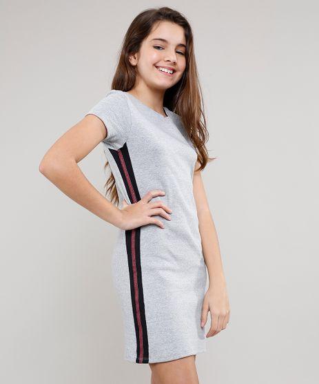 Vestido-Infantil-Canelado-com-Faixa-Lateral-Cinza-Mescla-9537307-Cinza_Mescla_1