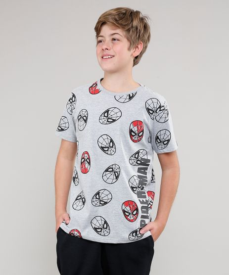 Camiseta-Infantil-Estampada-Homem-Aranha-Manga-Curta-Cinza-Mescla-9629768-Cinza_Mescla_1