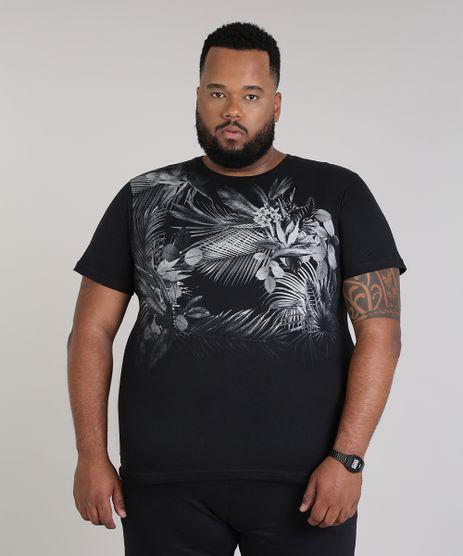 Camiseta-Masculina-Plus-Size-com-Estampa-de-Folhagem-Manga-Curta-Gola-Careca-Preta-9699529-Preto_1