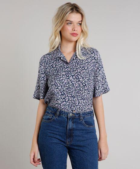 Camisa-Feminina-Mindset-Estampada-Floral-Manga-Curta-Azul-Marinho-9734174-Azul_Marinho_1