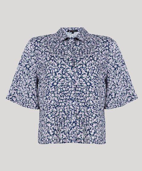 Camisa-Feminina-Mindset-Estampada-Floral-Manga-Curta-Azul-Marinho-9734174-Azul_Marinho_5