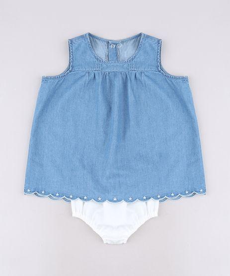 Vestido-Jeans-Infantil-com-Bordado-Sem-Manga---Calcinha-Azul-Claro-9566011-Azul_Claro_1